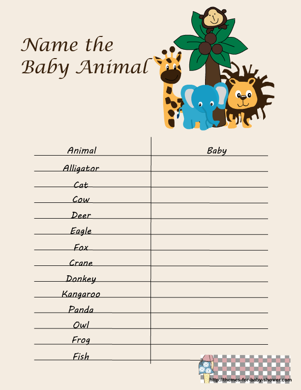 Free Printable Safari Baby Shower Games Baby Shower Games Animal