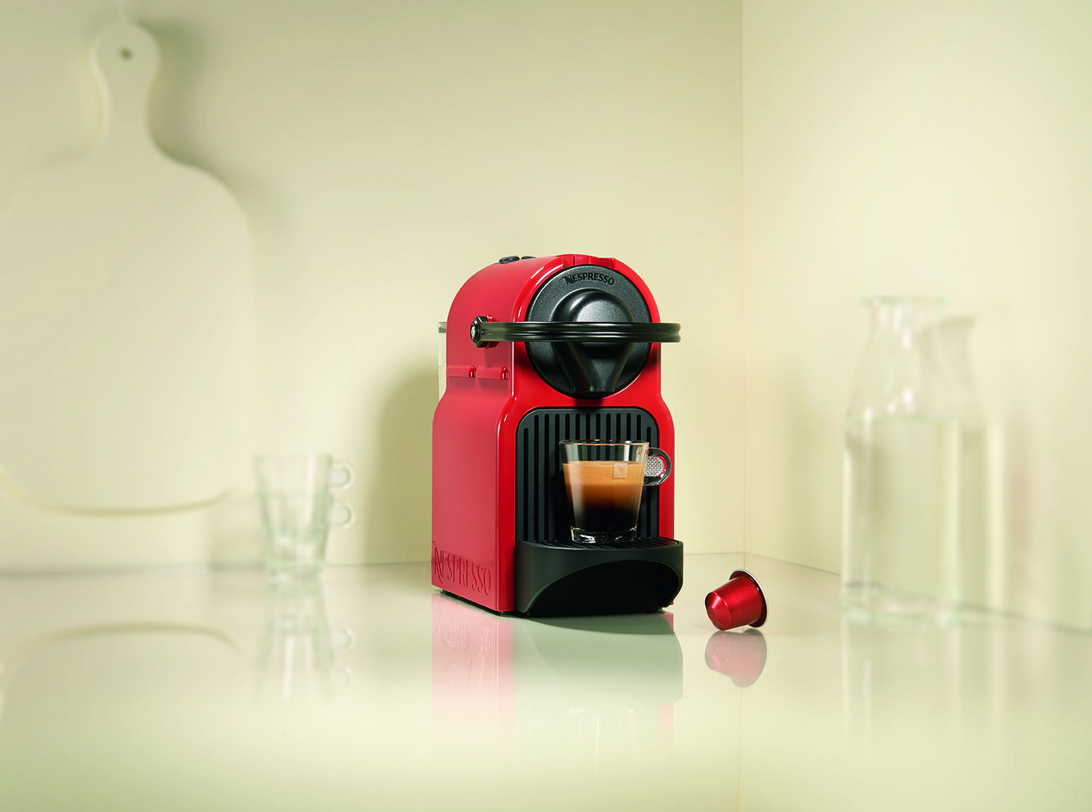 The new Nespresso Inissia coffee machine in Ruby Red