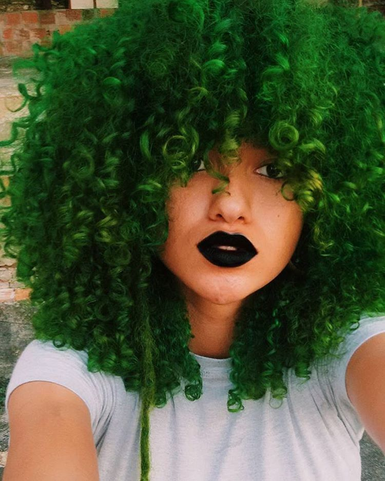 Green Colored Curly Hair With Images Hair Styles Natural