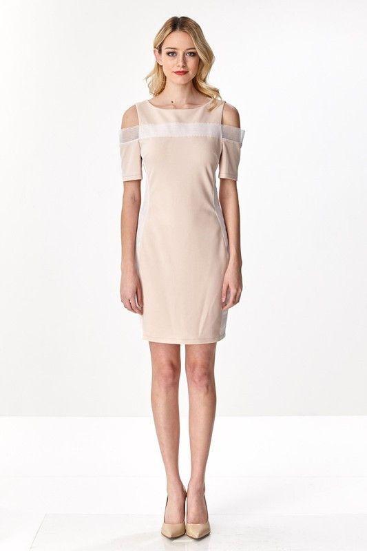 Modern Block Dress W/ Cold Shoulder