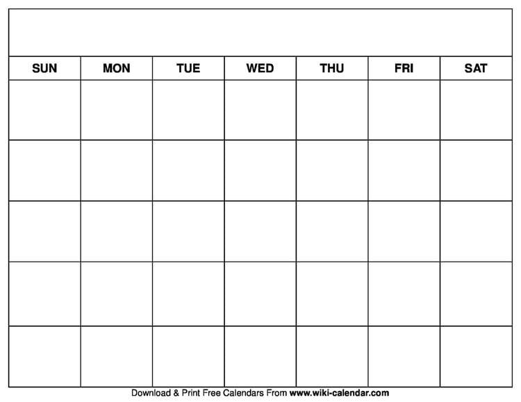 Printable Blank Calendar Templates Calender Template Printable