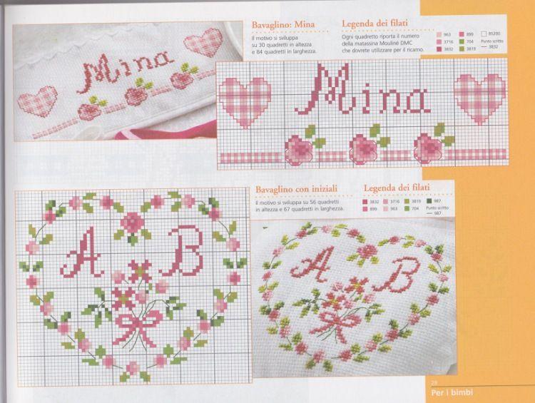 PX varios graficos - corazones y paño cocina limon *   Nombres MAYTE ...