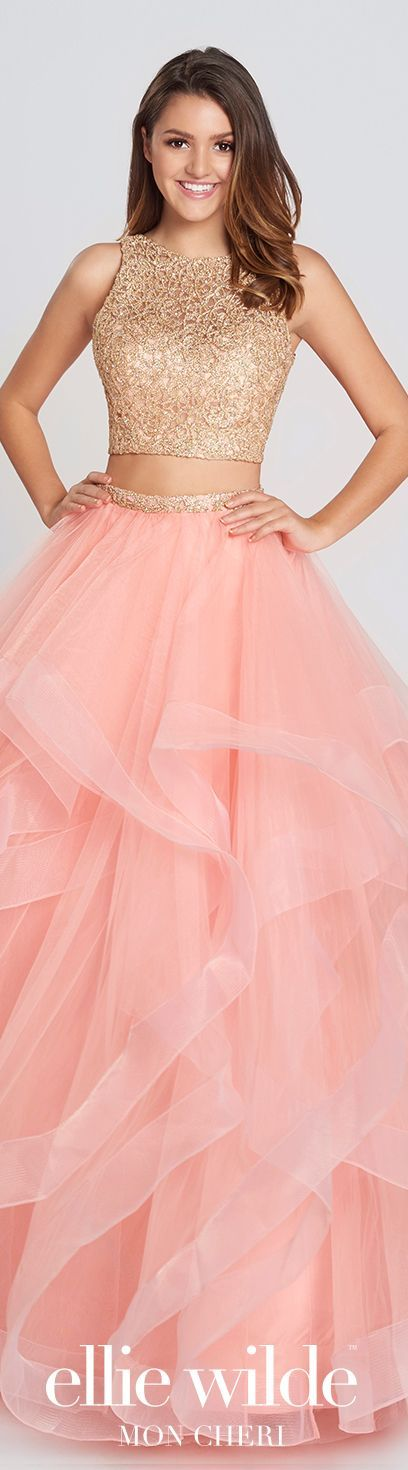 Two Piece Gold Lace Crop Top Tulle Skirt Prom Dress