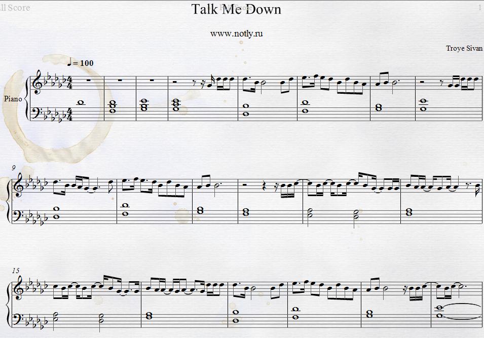 Troye Sivan — Talk Me Down Piano Sheets | Piano Sheets | Pinterest ...