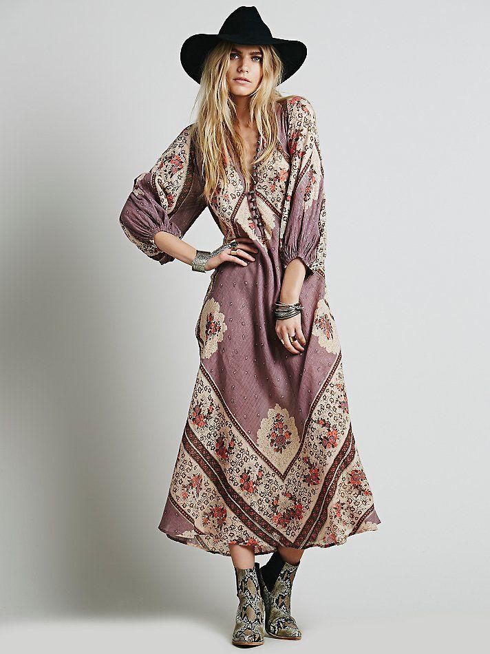 Free People Vintage Hippie Maxi Fashion Vintage Hippie Midi Dress Outfit