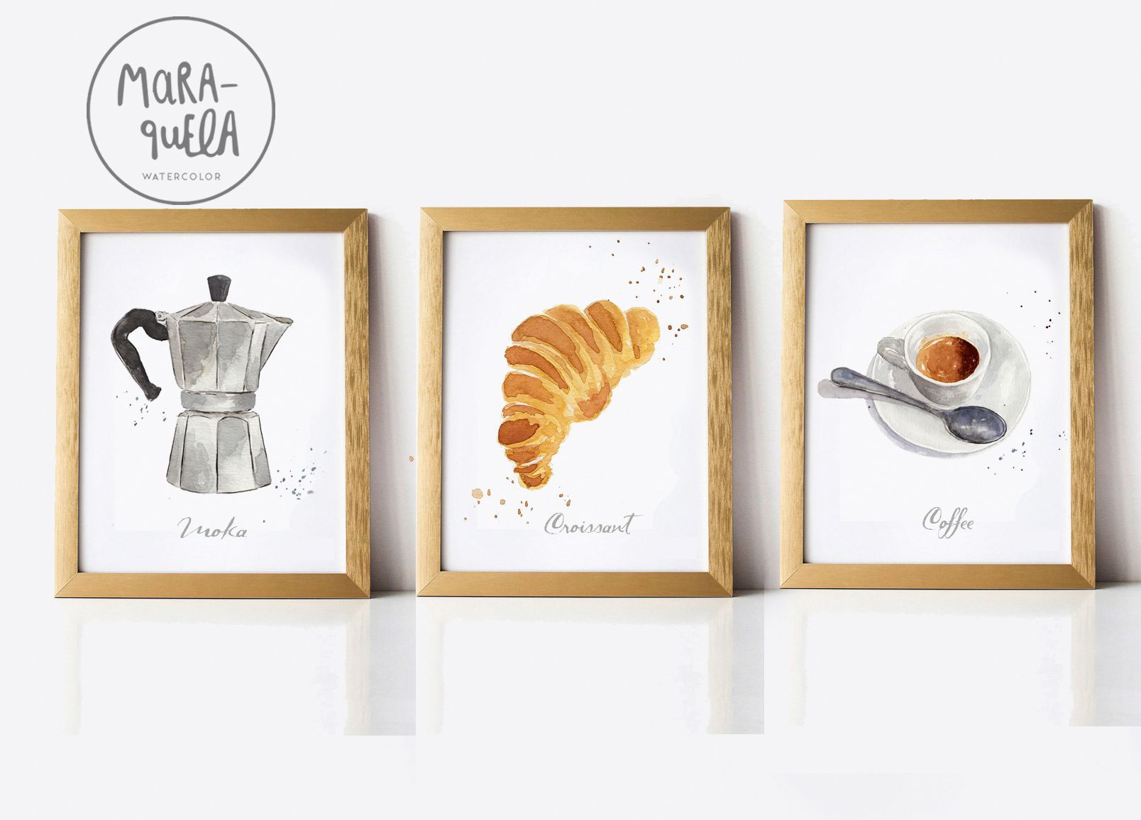 Discount breakfast set coffee croissant and moka pot italian decor