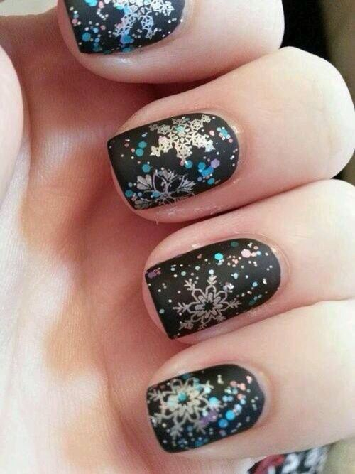 Matte black snowflake nails -- I normally don\'t care about nails but ...