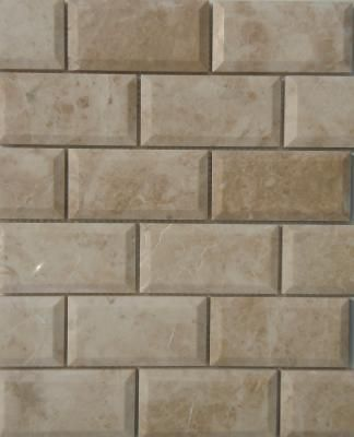 Glass And Stone Subway Mosaic Tile Beveled Polished