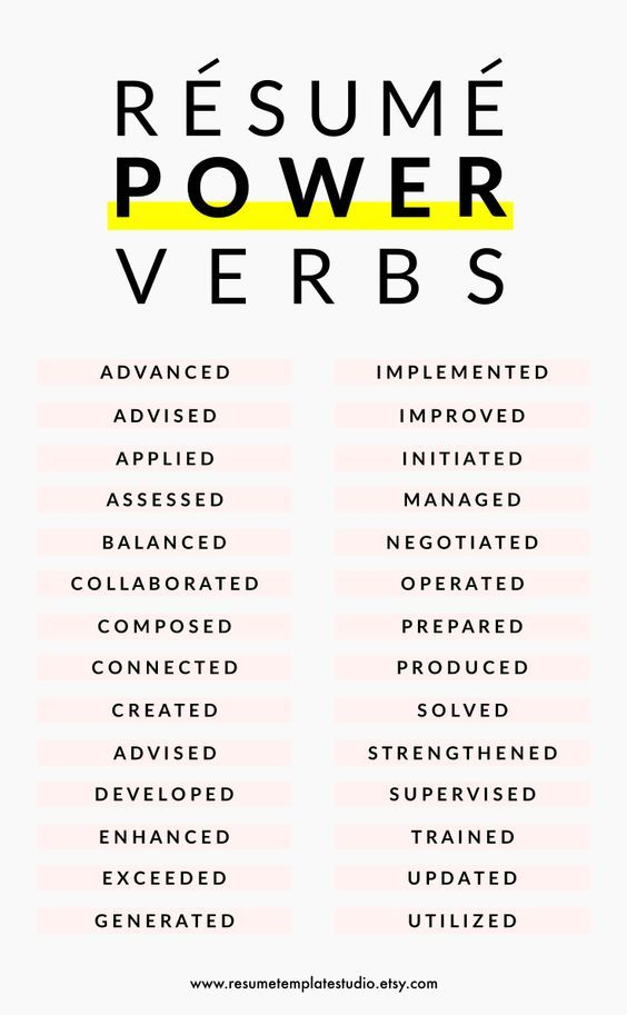 power verbs resumes