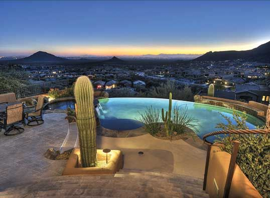 LHM Arizona - Breathtaking Views! The beautiful kitchen opens up to the living areas with walls of windows for spectacular city light and mountain views. There is a great home office, a room that is pre-wired for home theatre, and a master suite that features luxurious bath with peninsula bathtub with ceiling tub filler and a 2nd  …