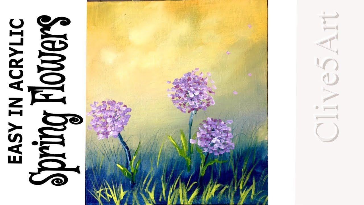 Easy Beginner Acrylic Painting Tutorial Spring Flowers Painting