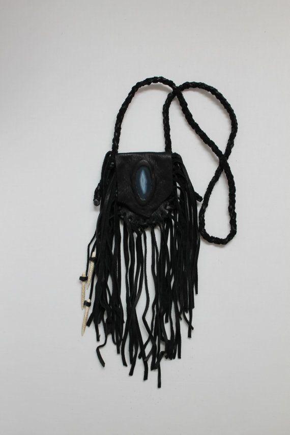 Black Leather Deerskin Medicine Bag by aquariansoul on Etsy, $65.00