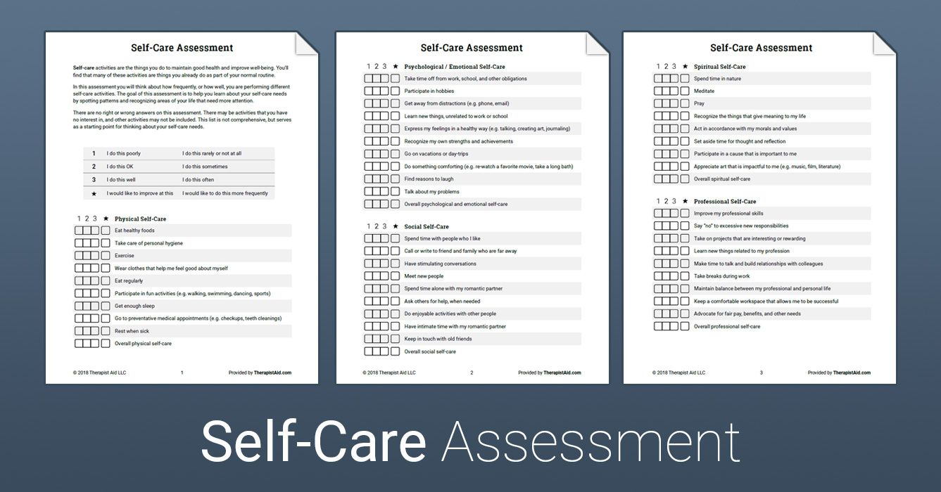 SelfCare Assessment (Worksheet Therapy worksheets, Art