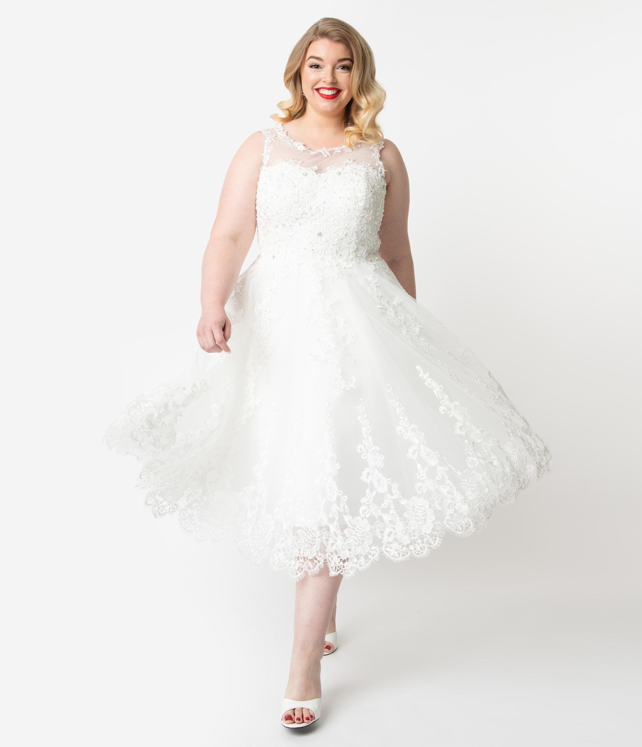 Unique Vintage 18s Style Ivory Lace & Tulle Riviera Bridal Dress ...