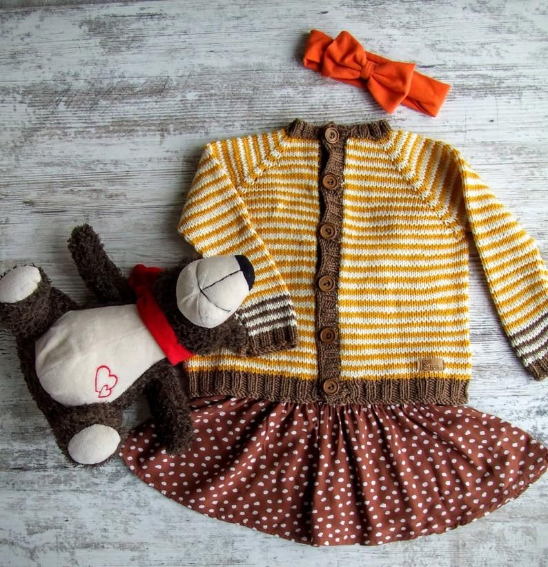Merino Wool Cardigan - Busy Bee / Baby Cardigan / Toddler ...