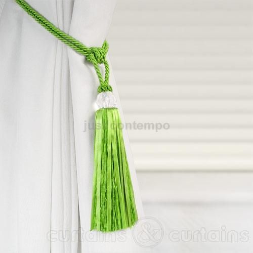 Lime Green Crystal Tassel Curtain Tie Back
