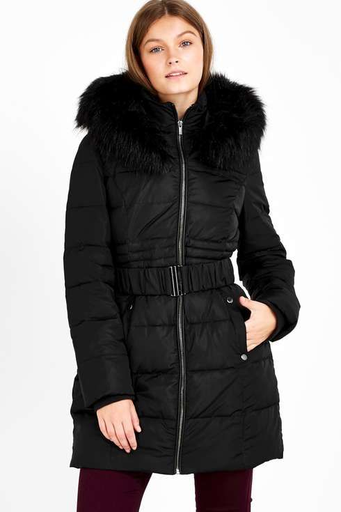 Petite Black Padded Coat | Wallis, Coats and Long puffer coat