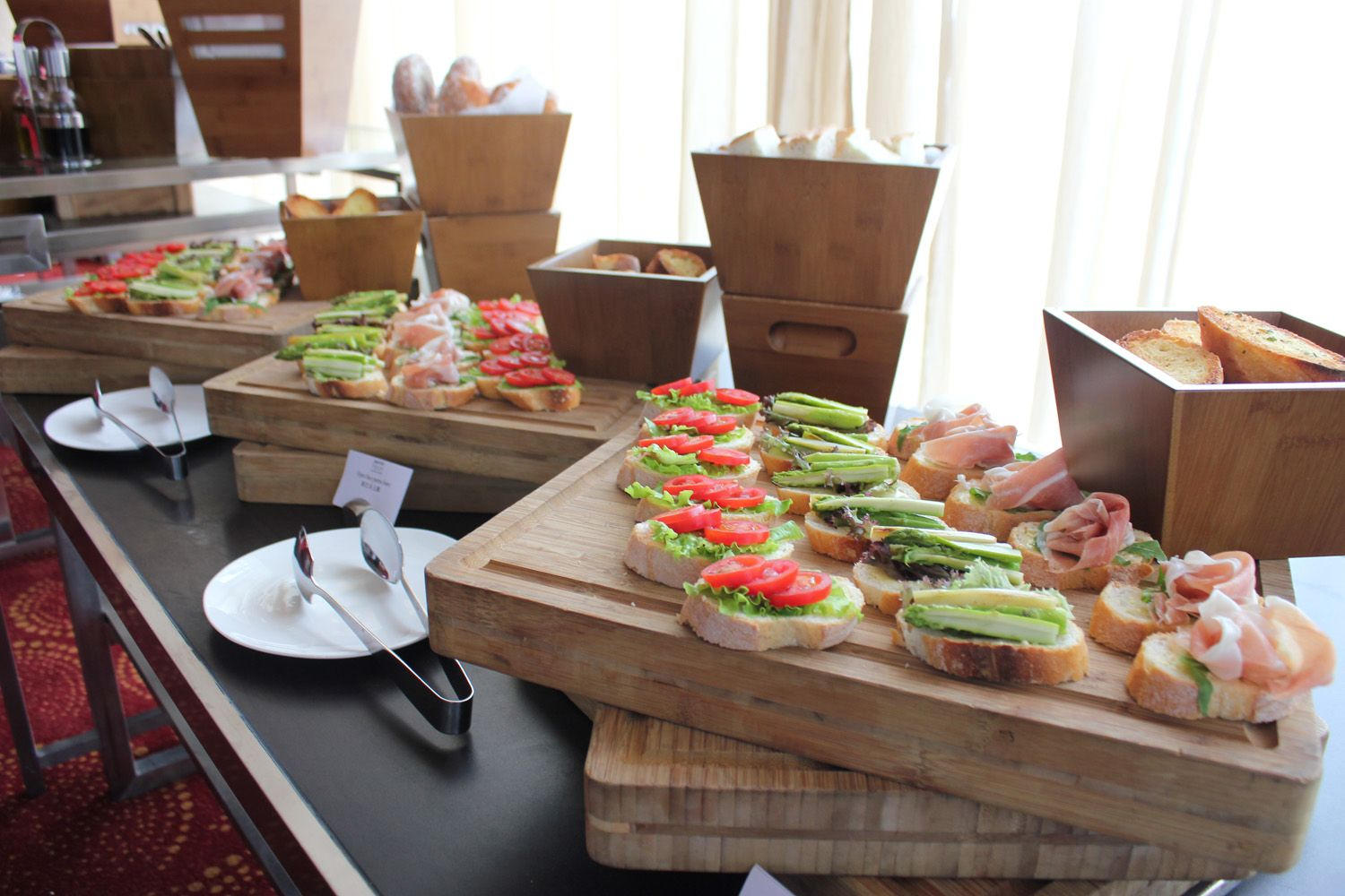 During meeting breaks, serve openfaced sandwiches made