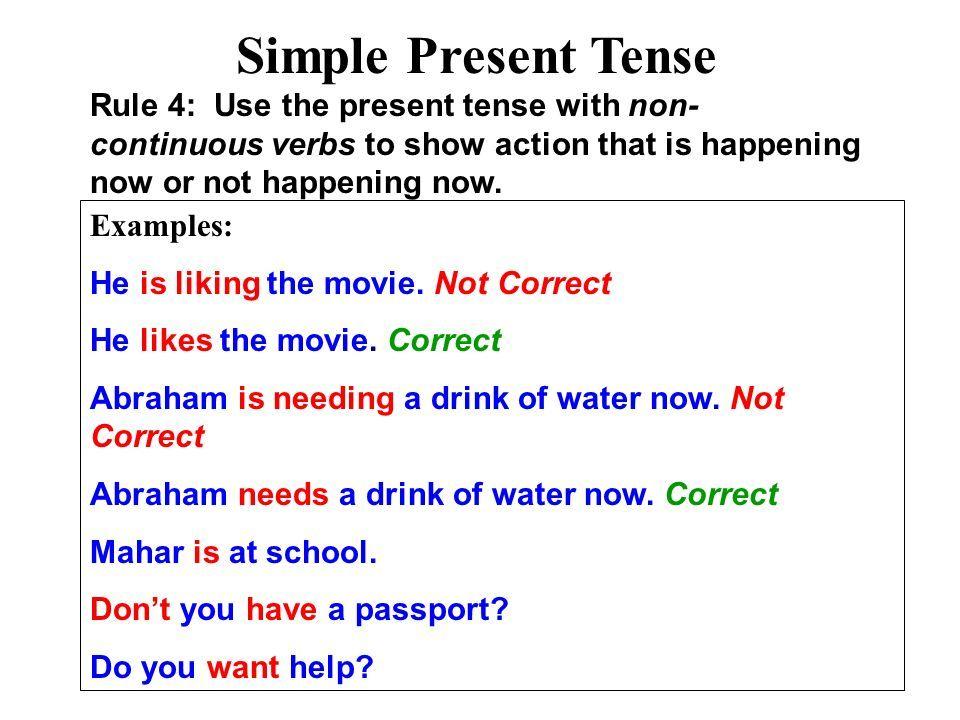 Tense Simple Present Sentences Examples