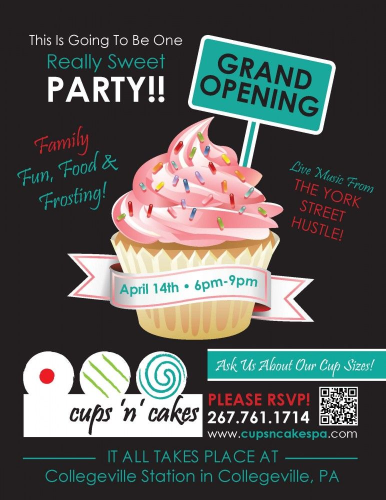 CupsnCakes Grand Opening Flyer Phoenixville Dish – Grand Opening Flyer