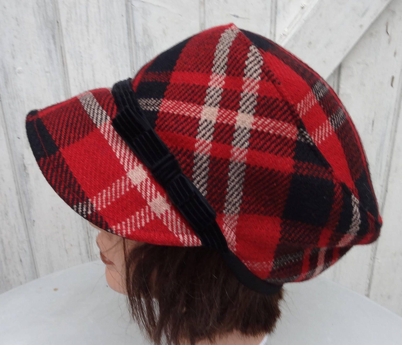 sans précédent collection entière Nouveaux produits Casquette femme écossaise laine/coton noir-rouge-beige ...