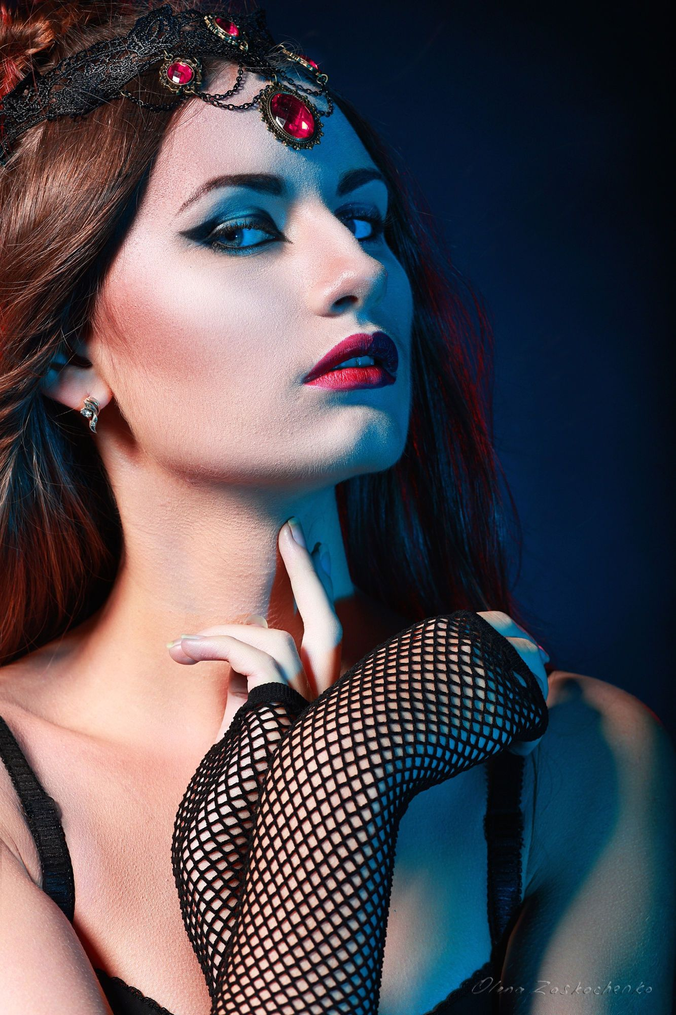 Portrait of mysterious woman perfect make up queen of the