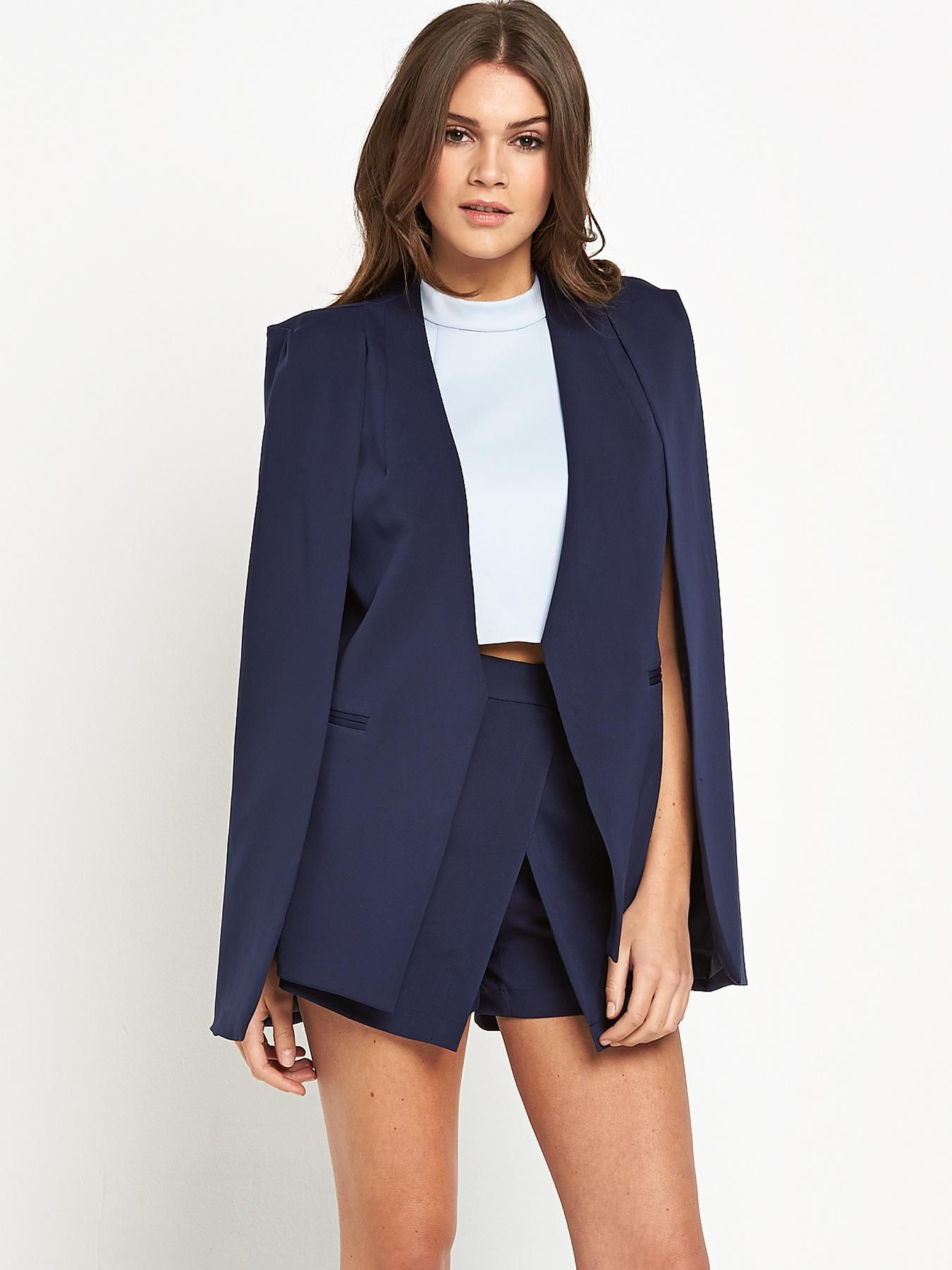 Lavish Alice Collar Cape Blazer  Navy, Navy Available From