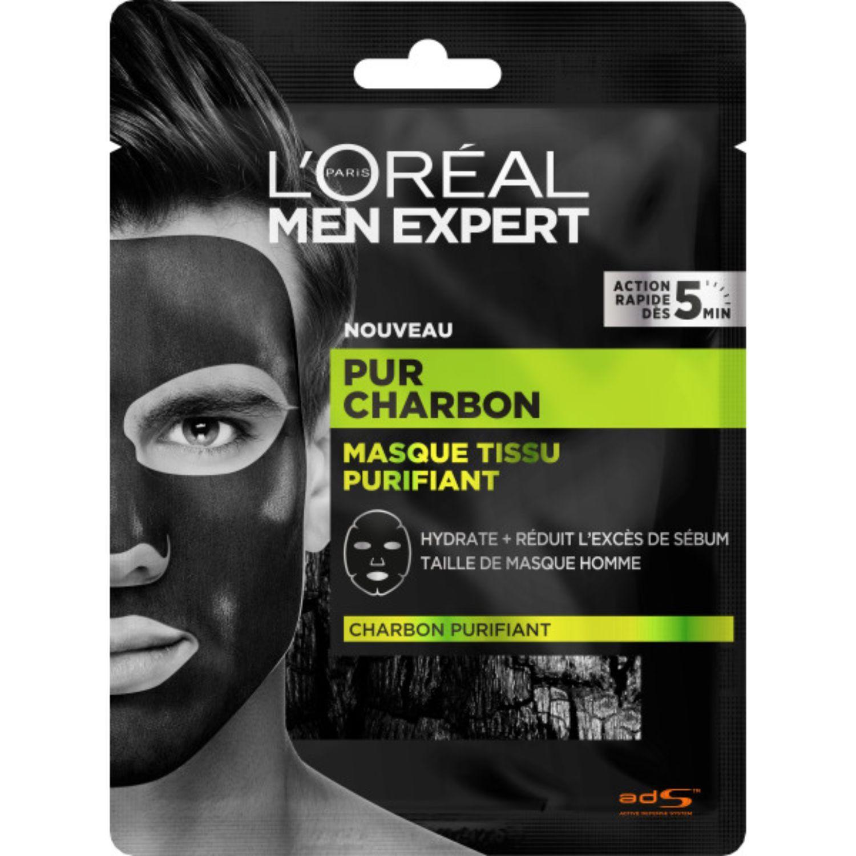 Photo of Masque purifiant charbon men expert L'OREAL : le masque en tissu  à Prix Carrefour