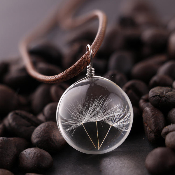 Wish Glass Necklace Dandelion Seed in Glass Pendant Long Necklace Women Gift AGU