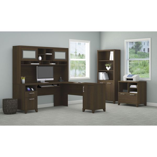 L Desk with Hutch Lateral File Printer Stand and Bookcase