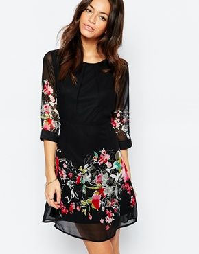 f2c3a7223abb0f Yumi Skater Dress with Floral Border Print