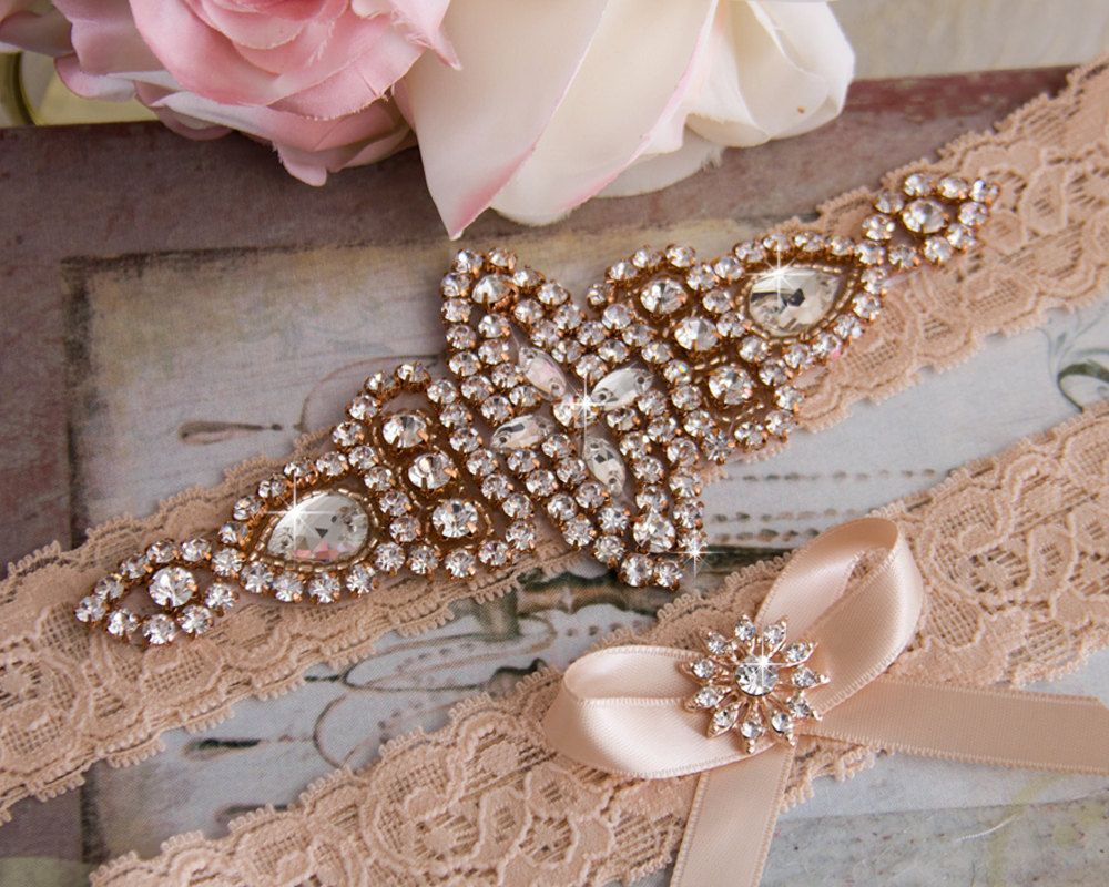 Rose Gold Wedding Garter Set, Bridal Garter Set, Blush Lace Wedding Garter, Crystal Garter Set, Blush Lace Garter Set by GarterQueen on Etsy