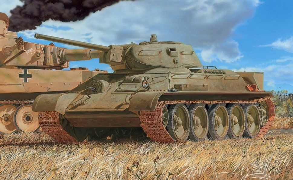 Drawing medium tank, t-34/76, the red army, pzkpfw vi tiger, s.ss-pz.abt.102