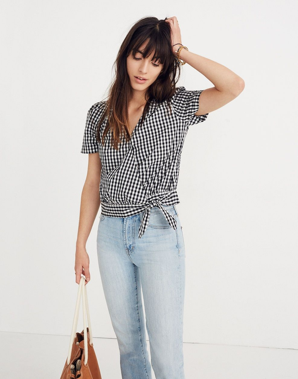 10cc3aadffdac Short-Sleeve Wrap Top in Gingham Check   tops   blouses