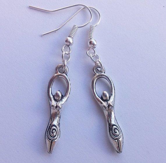 Goddess Earrings Silver Earrings Wicca Jewelry by AzureAllure