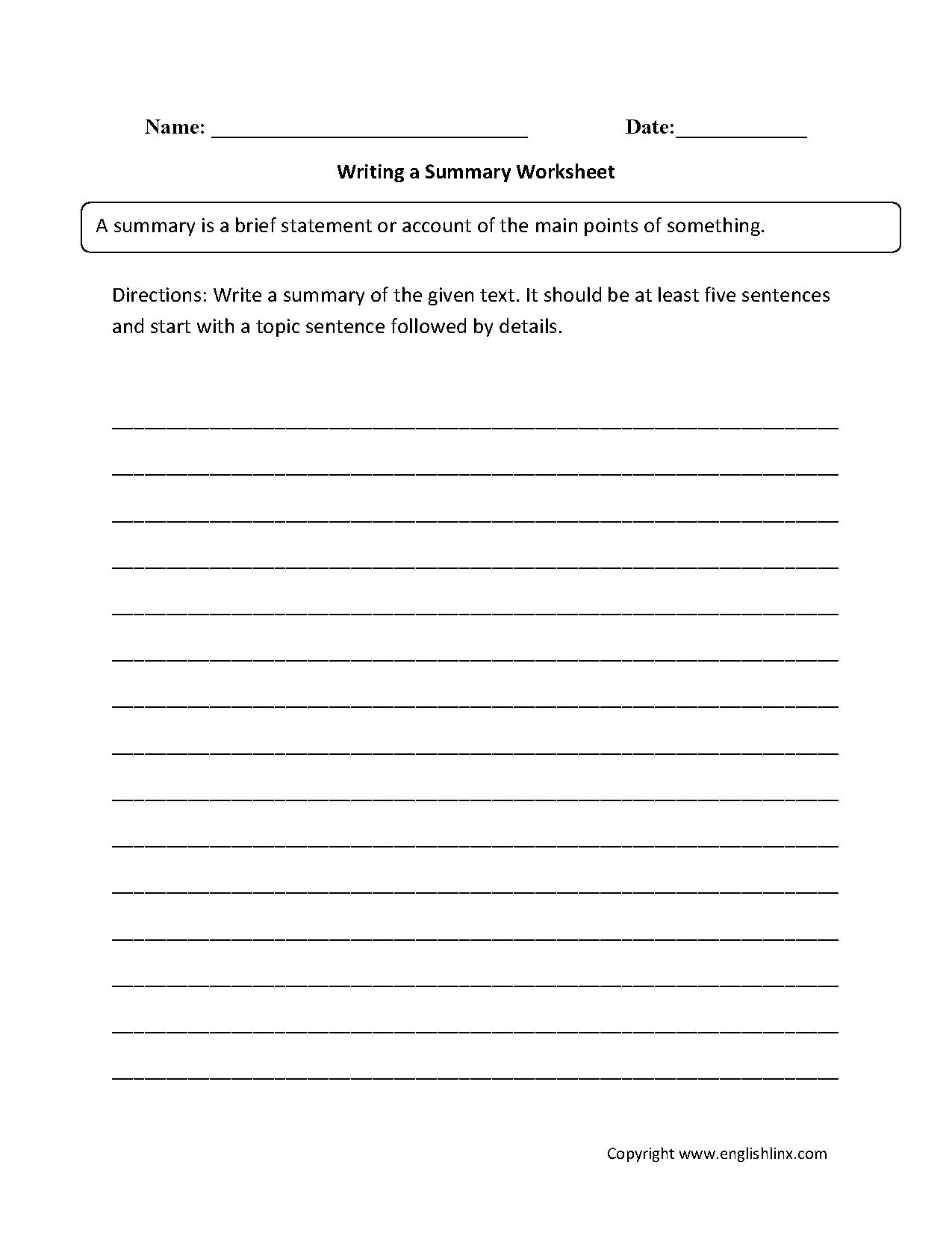 worksheet Summary Worksheet writing a summary worksheet ela block pinterest worksheets and worksheet