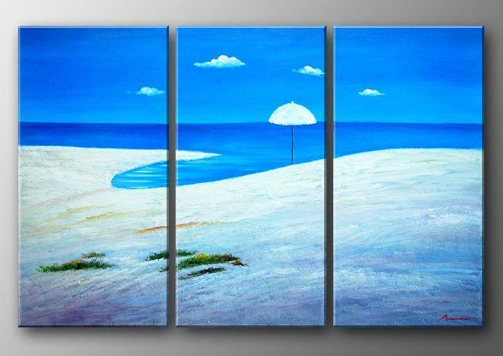Blue Water Resort Style 3 Piece Beach Art Free Shipping Framed