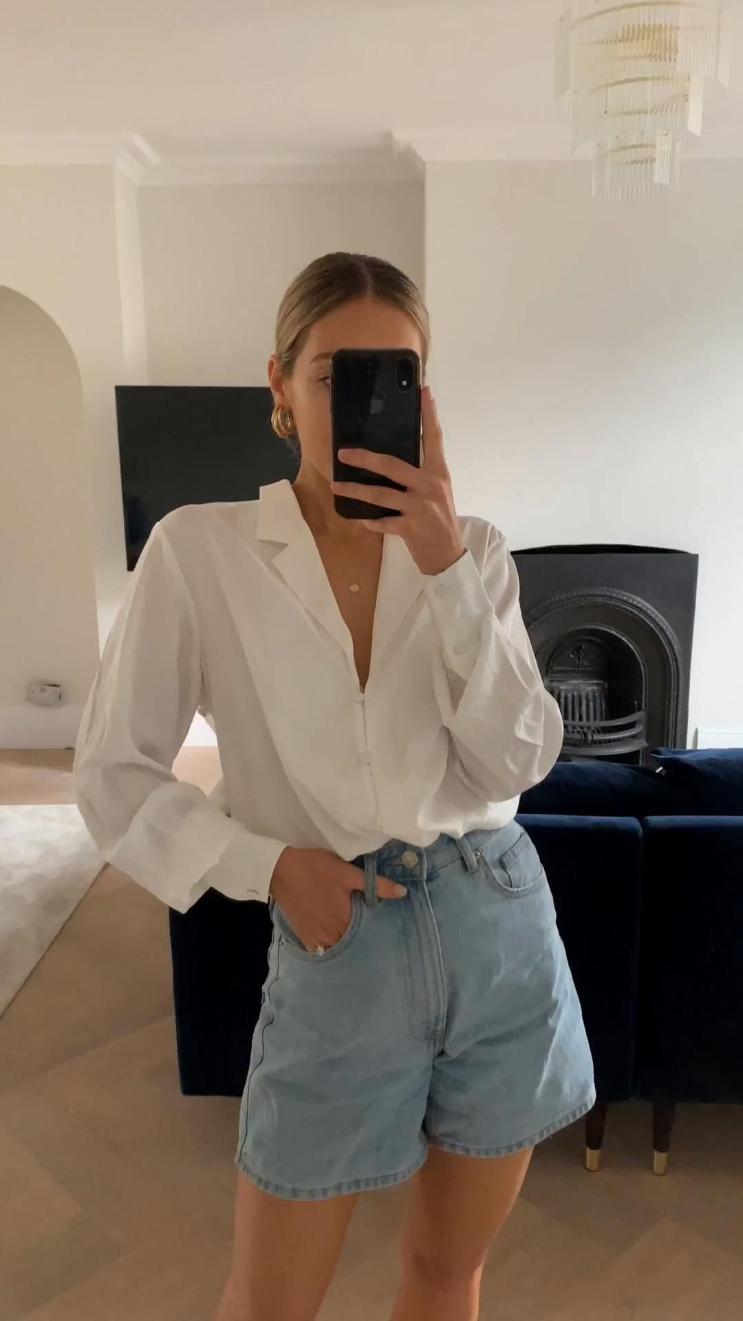 Photo of Blogger style outfit, white shirt and jean shorts outfit, women's stylish outfit inspiration