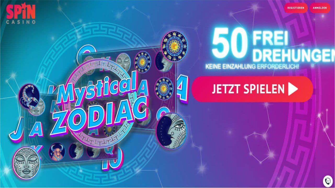 ? Spin Casino Bonus – Wirklich 50 Freispiele ohne Einzahlung am Mystical Zodiac?