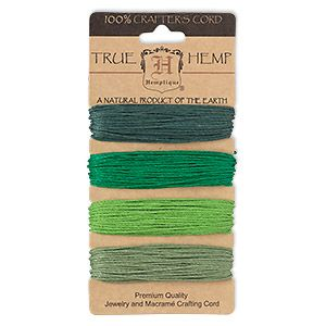 Cord, Hemptique, hemp, green shades, 1mm diameter, 20-pound test. Sold per pkg of (4) 30-foot sections.