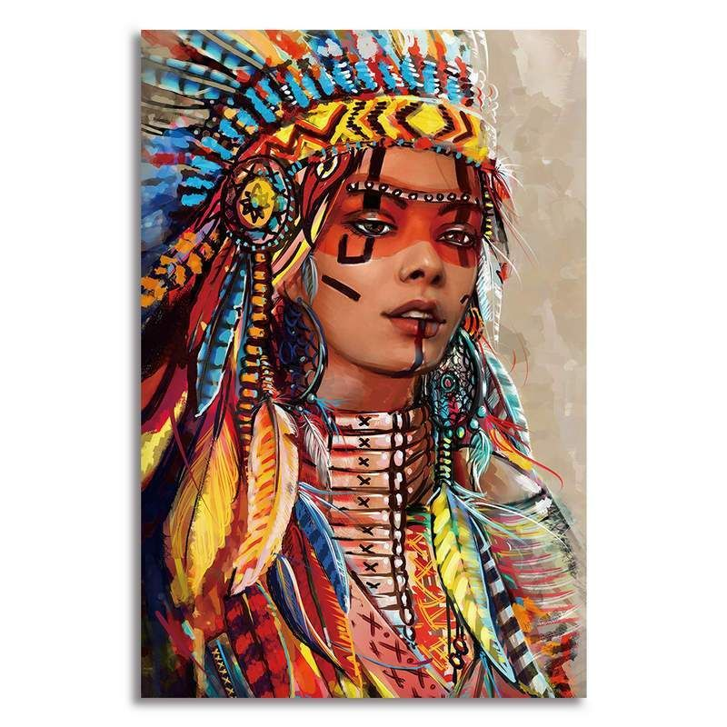 Feathered native american woman canvas art native