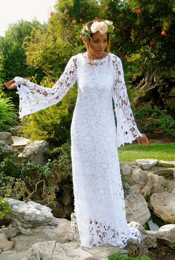 Boho Crochet Lace Wedding Dress