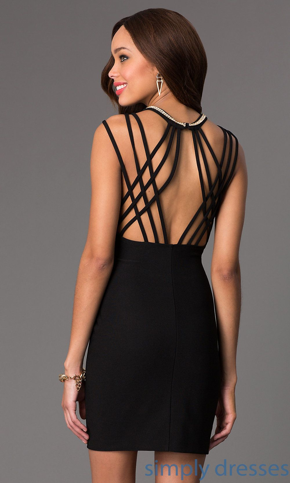 Shop strappy back little black Emerald Sundae beaded cocktail dresses with at SimplyDresses. Short black party dresses for holiday get togethers.