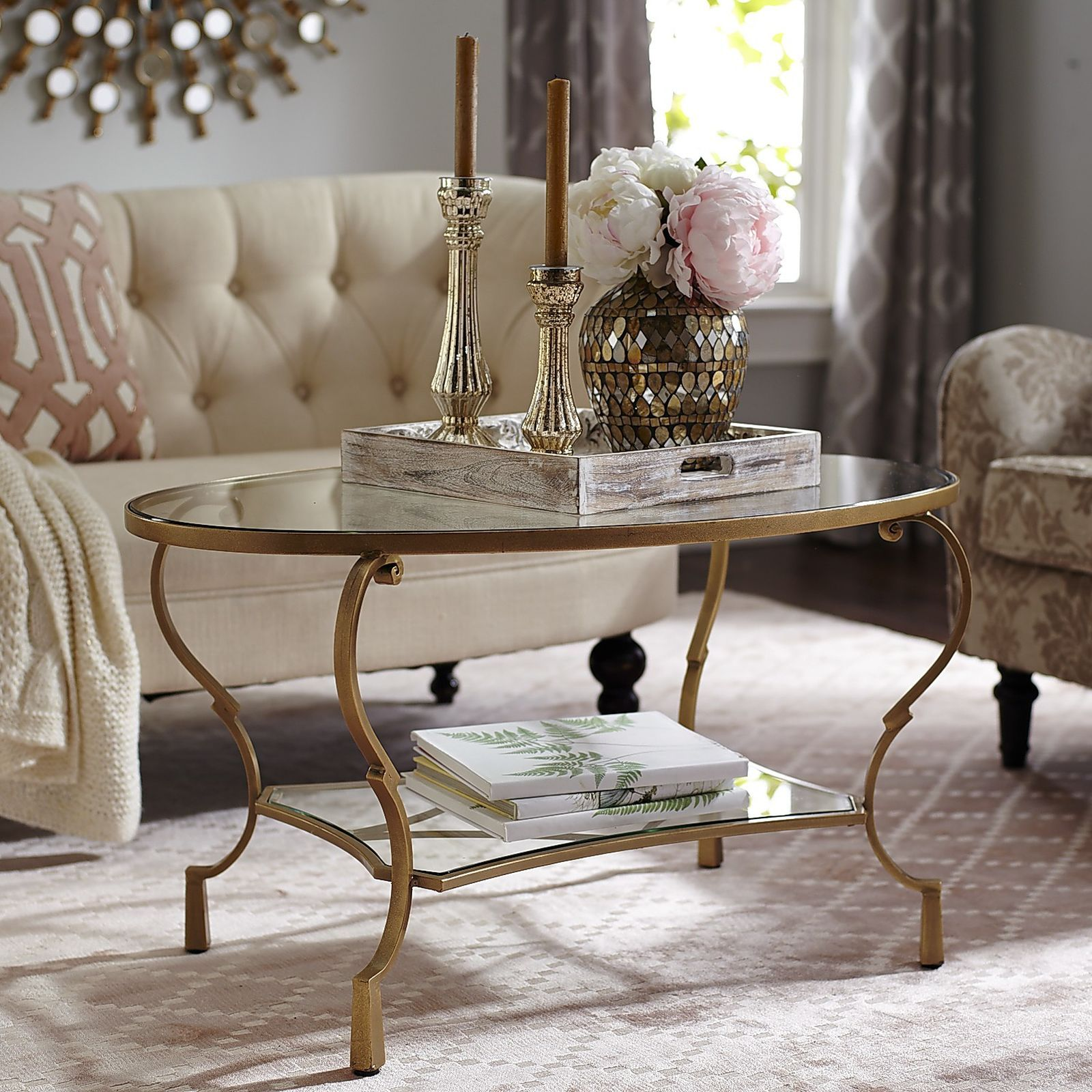 Chasca glass top gold oval coffee table oval glass