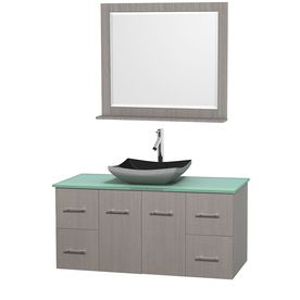 Wyndham Collection Centra Gray Oak 48-In Vessel Single Sink Oak Bathroom Vanity With Tempered Glass And Glass Top WCVW00948SGOGGGS1M36