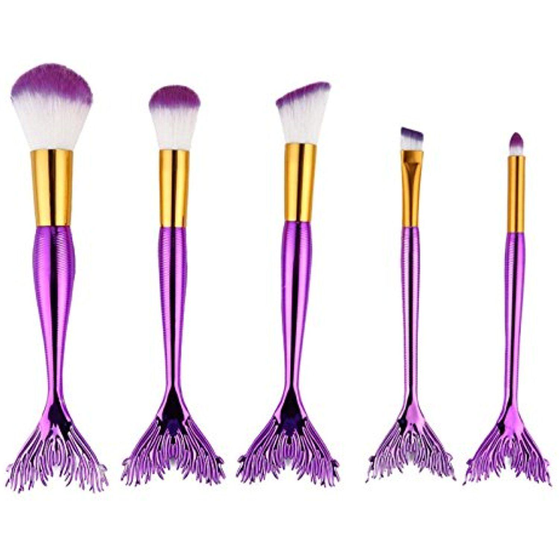 Owill 5PCS Metal Handle Mermaid Powder Makeup Brushes