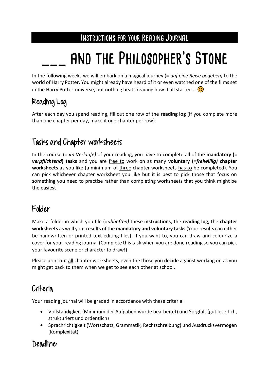 Lesetagebuch Harry Potter And The Philosopher S Stone Einstiegsseiten Unterrichtsmaterial Im Fach Englisch Lesetagebuch Lesen Mit Dir An Meiner Seite
