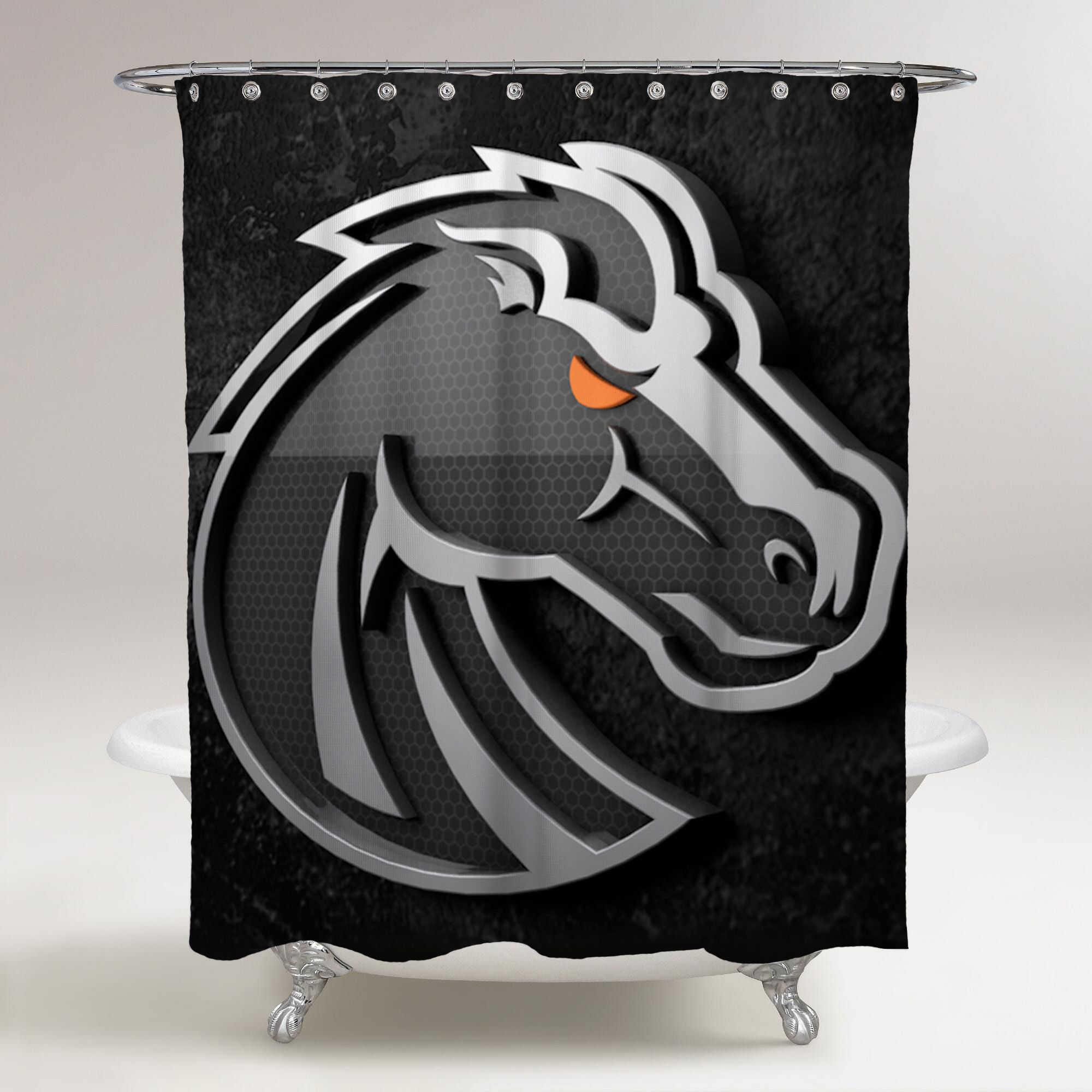 Boise State Broncos Logo Black Background Printed Shower Curtain