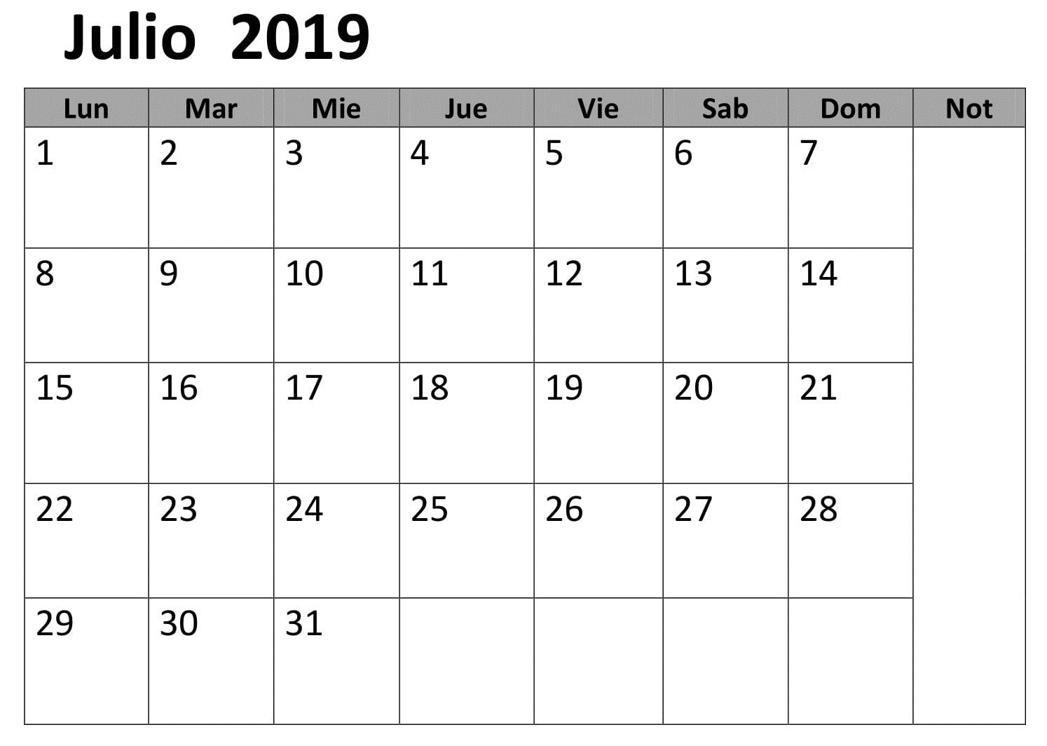 Calendario 2019 Julio.Calendario 2019 Julio Para Imprimir Word Calendario Julio