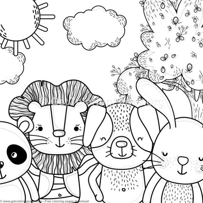 Panda Lion Dog And Bunny Forest Animals Coloring Pages Free
